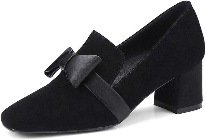 YIWU Herbst Und Winter Butterfly Knot Maomao Schuhe High Heels Mid-Heeled Damenschuhe Und Einzelschuhe (Farbe   Schwarz, Größe   EU37 UK4.5-5 CN37)