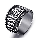 Elfasio Mens Stainless Steel Ring Viking Valknut Scandinavn Odin Symbol Norse Text Vintage Jewelry Size 10