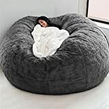 WXFXBKJ 7ft Bean Bag Chair ,No Filler Giant Fur Bean Bag Cover Soft Fluffy Fur Portable Living Room Sofa Bed (About 3 Cubic Meters of Filling) Kids Adult Bean Bag Chair (No Filler) ( Color : Gray )