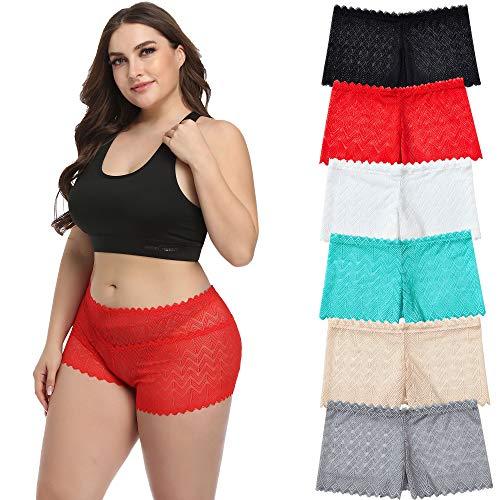 Wemoven Women's Lace Underwear Boyshort Panties Hipster Panty-6Pack (L, 6 Pack)