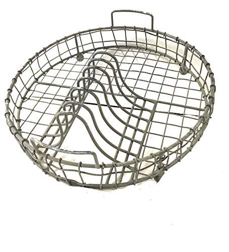 """Colonial Tin Galvanized Metal Vintage Dish Rack with Utensil Holder Kitchen Supplies, 12"""" dia. x 4¼""""T, Gray"""