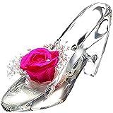 ティートサイト プリザーブドフラワー ガラス製 ハイヒール ガラスの靴 (バラ かすみ草 ピンク)