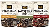 Savory Wild Portabella Mushroom Jerky Variety Pack - Sesame & Chili, Balsamic & Fig, Garlic & Pepper