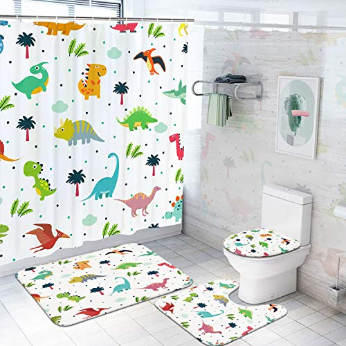 Ikfashoni 4Pcs Cartoon Dinosaur Shower Curtain Set with Non-Slip Rugs Toilet Lid Cover and Bath Mat, Cute Kids Bath Curtain with 12 Hooks Durable Waterproof Fabric Shower Curtain for Kids