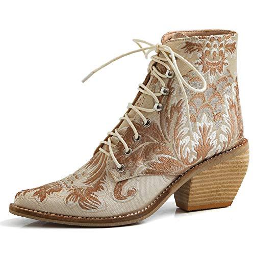 Gracemee Blockabsatz Leder Western Stiefel Kurzschaft High Damen Pull On Cowboy Stiefel Wide Calf Pointed Toe Ridding Stiefel Apricot Gr 43