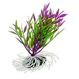 Sourcingmap Aquarium-Pflanze, Kunststoff, Keramikbasis, 14 cm, Grün/Violett