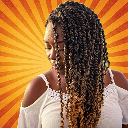 Eerya Passion Twist Hair 18Inch 6 Packs Water Wave Crochet Braids for Passion Twist Crochet Hair Bohemian Braids Passion Twist Braiding Synthetic Fiber Natural Hair Extensions (6Pcs T27#)
