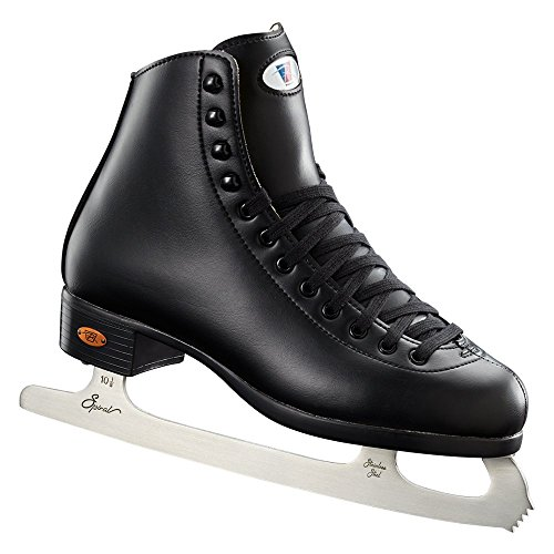 Riedell Skates - 10 Opal - Recreational Youth Ice Skates with Stainless Steel Spiral Blade for Boys   Black   Size 12 Youth