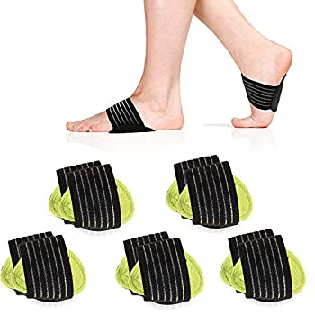 5 Pair Arch Support Brace Compression Cushioned Support Sleeves Plantar Fasciitis Foot Pain Relief for Fallen Arches Flat Feet Heel Fatigue Achy Feet Problems for Men & Women - Universal Size