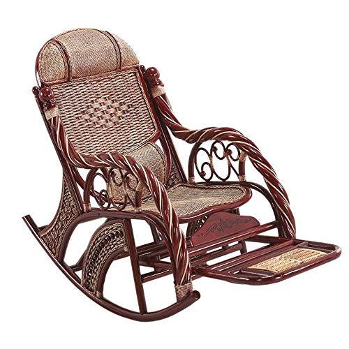 Mecedora de Mimbre de ratán Silla de Madera de la Tumbona Diseño Hecho a Mano de Mimbre Natural al Aire Libre o Interior (Color : Brown)