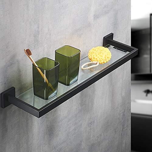 Kcakek Black 304 roestvrij staal badkamer glazen plank aan de muur gemonteerde badkamer cosmetica rek single layer spiegel voorzijde plank Dik materiaal gehard glas wc storage rack keuken opslag