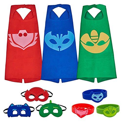Letop 3 Capes und Masken für Kinder - Halloween Kostüm (3 Pack with Bracelet)