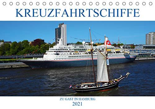 Kreuzfahrtschiffe zu Gast in Hamburg (Tischkalender 2021 DIN A5 quer)