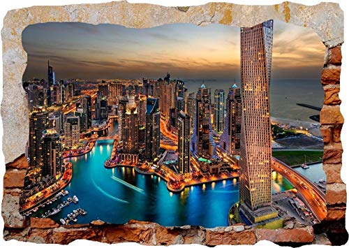 Wandtattoo Poster Tapeten Skyline New York London 3d zertrümmerte Wandansicht Aufkleber Poster Viny-50x70cm