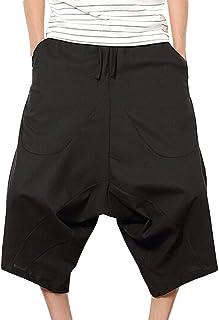 d5ab401998 wodceeke Mens Casual Elastic Waist Shorts, Cotton Linen Wide Leg Shorts  Baggy Harem Pants Trousers
