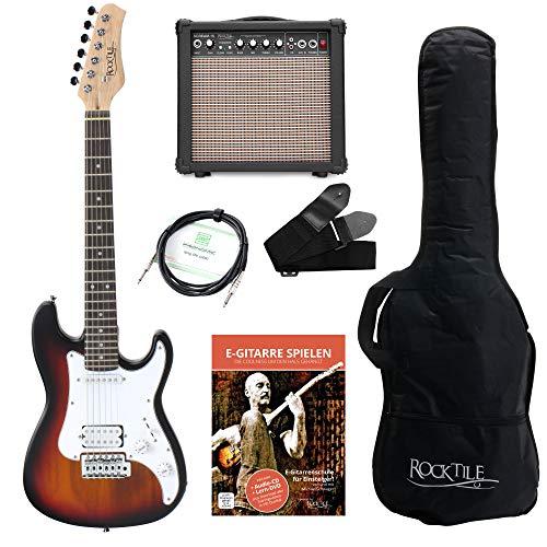 Rocktile Sphere Junior E-Gitarre 3/4 Sunburst SET inkl. Verstärker, Kabel, Gurt und Schule inkl. CD/DVD