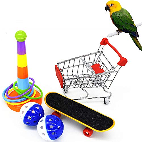 SKCLUB 5 Pack Parrot Toys Parakeet Toys, Mini Shopping Cart Skateboard Stand and Ball Training...