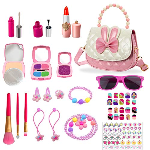 Kids Makeup Kit for Girl,Toy Kids Pretend Makeup,Looks Real But Totally Pretend,Safe & Mess Free, Christmas,Birthday Gift for Girls