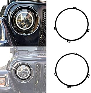 Hooke Road Jeep Wrangler 7 inch Round Headlight Mounting Bracket Rings in Black for 1997-2006 Jeep Wrangler TJ