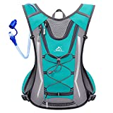 SKL Trinkrucksack mit 2L Trinkblase Trinksystem Hydration Backpack Wasser Rucksack Wasser Blase Wasserbeutel Trinksystem für Radfahren/Wandern/Klettern Beutel + 2L Trinkblase (Grün)