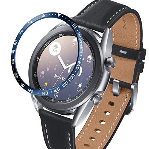 FAAGFC Para Samsung Galaxy Watch 3 41 mm 45 mm bisel anillo cubierta protectora adhesiva anti arañazos bisel de acero inoxidable (color de la correa: azul, ancho de la correa: 41 mm)