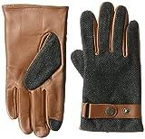 Ike Behar Men's Leather Wool Touchscreen Gloves, Cognac, Extra Large