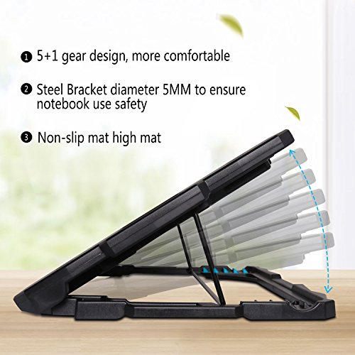 Laptop Cooler, Tenswall 5 Quiet Fans Laptop Cooling Pad for 13-17 Inch Laptops, Cooler Pad Stand with LED Light, Dual USB 2.0 Ports, Adjustable Height Settings