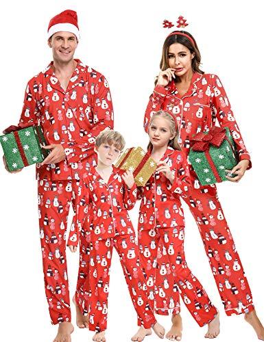 iClosam Conjunto de Pijamas de Navidad Familia,Pijama Algodón Suave y Comodo Navideños Monigote de Nieve Ropa para Dormir para Hombre Mujer niños