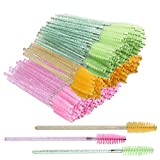 Lainrrew 150 Pcs Crystal Eyelash Mascara Brushes, Disposable Mascara Wands Applicators Spoolie Brushes Makeup Brushes Tool Kits for Eyelash Extension, Eyebrow (Mix 1)