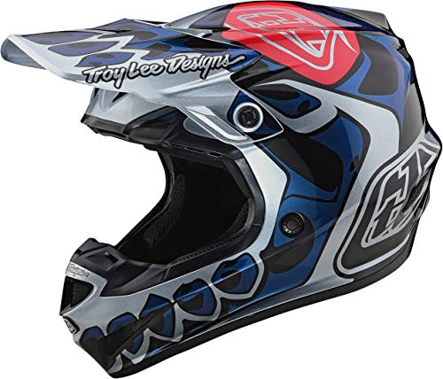 Troy Lee Designs SE4 PA Skully Motocross Helm Blau/Weiß XL