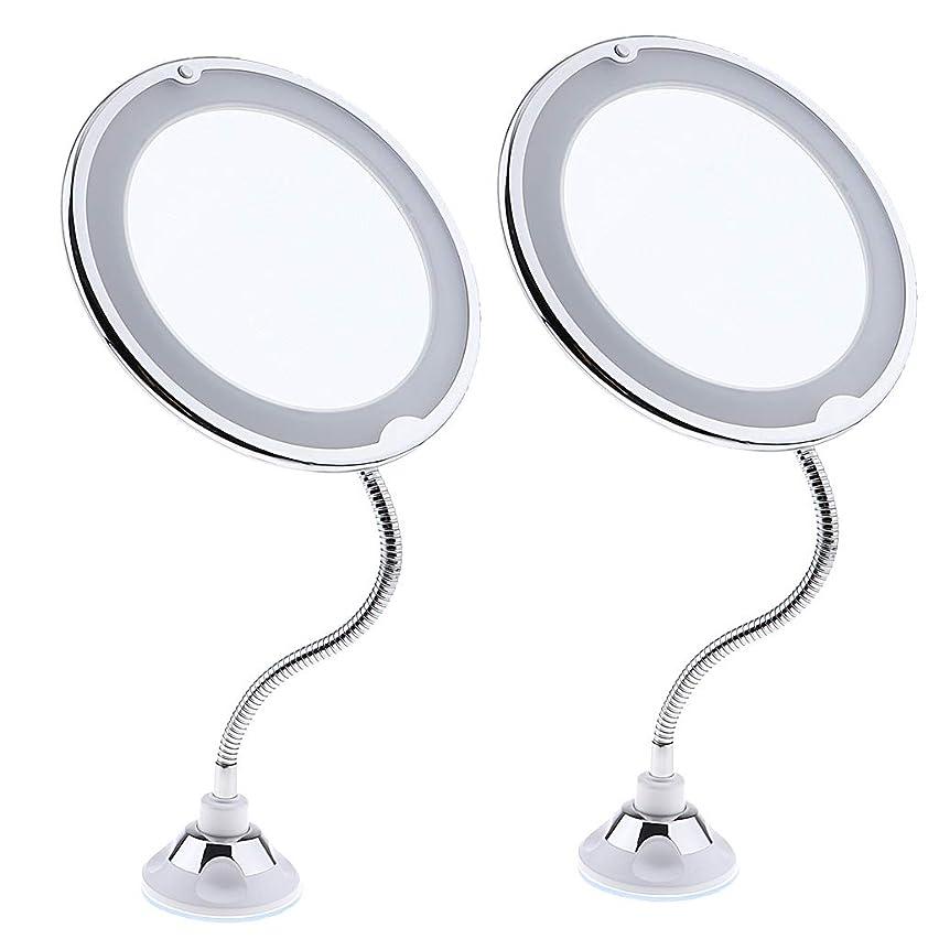 国歌真剣にナサニエル区T TOOYFUL 化粧ミラー LED付き 360スイベル 拡大化粧鏡 拡大化粧ミラー 卓上鏡 化粧鏡 2個セット