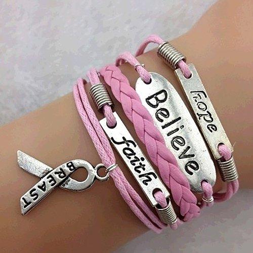 Armreif für Damen, modisch, mehrschichtig, Liebesglaube und Brustkrebs-Bewusstseins-Charm-Armband