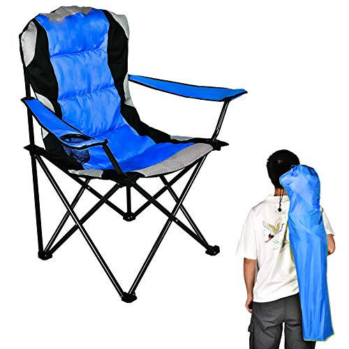 B BAIJIAWEI Folding Camping Chair, Portable Lawn Chair with Adjustable Armrest and Cup Holder, Heavy Duty Camping Chair for Fishing, Hiking, Travelling, Picnic, BBQ (Blue)