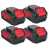 4-Pack 5.0Ah 20V for Dewalt DCB205 Battery, 2Pack Lithium-ion Replacement Battery for Dewalt dcb200 DCB204 DCB207 DCB205-2 DCB180 DCD985B DCD771C2 DCS355D1 DCD790B Cordless Power Tools