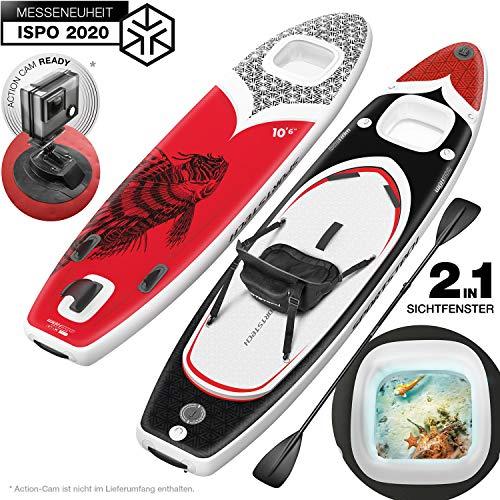 novità Fiera 2020! WBX tavola SUP Premium con Finestra Smart 2in1| Action-Cam Ready + 9in1 Set |Marchio di qualità Tedesca | Stand Up Paddle Board Gonfiabile| Canoa Sport Acquatico | Surf pagaia