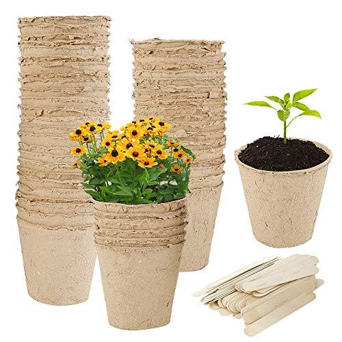harupink Anzuchttopf 50 Stück 8 cm Biologisch Abbaubare Aussaattöpfe Torftöpfe Seed Starting pots mit Kunststoff Pflanzenetiketten für Pflanzen Pflanzenanzucht Pflanztopf