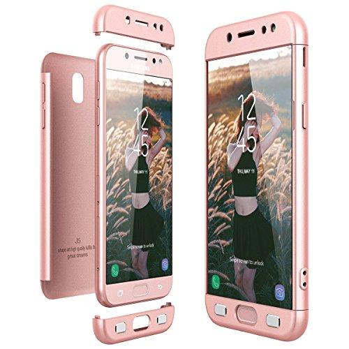 CE-Link Cover Samsung Galaxy J5 2017 J530 (EU Version) 360 Gradi Full Body Protezione, Custodia Galaxy J5 2017 Silicone 3 in 1 Antishock e Antiurto, J5 2017 Case - Rosa