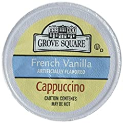 Includes Grove Square Cappuccino, French Vanilla, 50 Single Serve Cups (Packaging May Vary) Combines pure, sweet vanilla and bold coffee flavors in perfect harmony Ingredients: SUGAR, COCONUT OIL, CORN SYRUP SOLIDS, INSTANT COFFEE, SALT SODIUM CASENA...