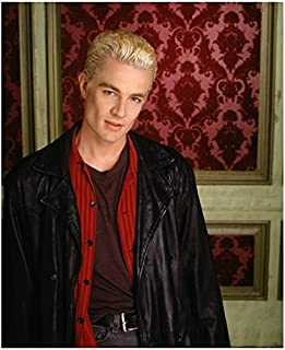 James Marsters 8 x 10 Photo Buffy The Vampire Slayer Black Leather Jacket Red Shirt Red & Pink Wallpaper in Background kn