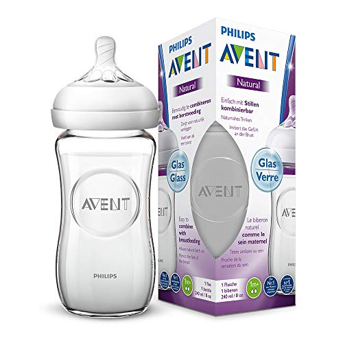 Philips Avent Natural Flasche SCF053/17, 240 ml, naturnahes Trinkverhalten, Anti-Kolik-System, aus Glas, 1er Pack