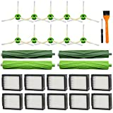 Lemige 22 Pack Replacement Parts for iRobot Roomba I&E Series i7 i7+ i3 i3+ i4 i6 i6+ i8 i8+/Plus E5 E6 E7 Vacuum Cleaner, 2 Pack Multi-Surface Rubber Brushes 10 Pack HEPA Filters 10 Pack Side Brushes