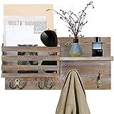 O'woda colgador de llaves de madera, perchero de pared, organizador de pared, estante para correo, revistas y celulares con 4 ganchos, 40 * 25 * 11 cm