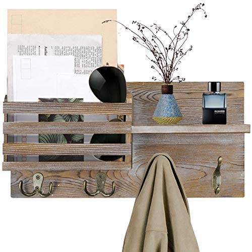 O'woda Schlüsselbrett mit Briefablage aus Holz 40 x 25 x 11 cm, Wand Montiert Zeitschriftenhalter mit 4 Schlüsselhaken, Wandboard für Büro Haushalt, Post, Schlüssel, Magazin