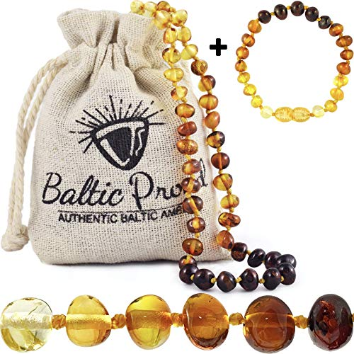 Baltic Amber Necklace and Bracelet Anklet Gift Set (Unisex Rainbow) Certified Premium Quality Raw Baltic Sea Amber