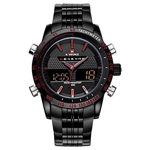 Luxury Naviforce Brand Full Steel Quartz Digital LED Watch Army Military Watches Sport Watches