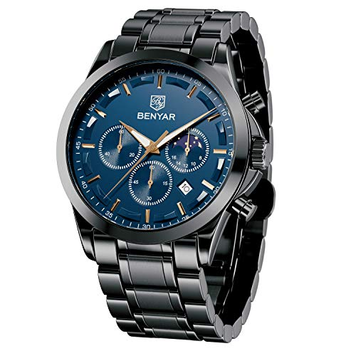 BENYAR Reloj de Pulsera Hombre | Reloj de Cuarzo analógico de Acero Inoxidable con cronógrafo | 30M Reloj Resistente al Agua y a los arañazos - Caja Negra con Esfera Azul