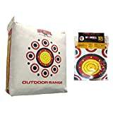 Morrell Outdoor Weatherproof Durable Range Adult Field Point Archery Bag Target w/Over 50 Bullseyes, Nucleus Center, & IFS Technology, White (4 Pack)