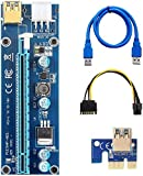 CFIKTE PCI-E 1x to 16x Powered Riser Adapter Card,Padcod 009S Mining Dedicated Graphics Card PCI-E 1X to 16X Riser Card 164P with 6 Pin to SATA Power Supply USB 3.0 Cable (1 Pack)