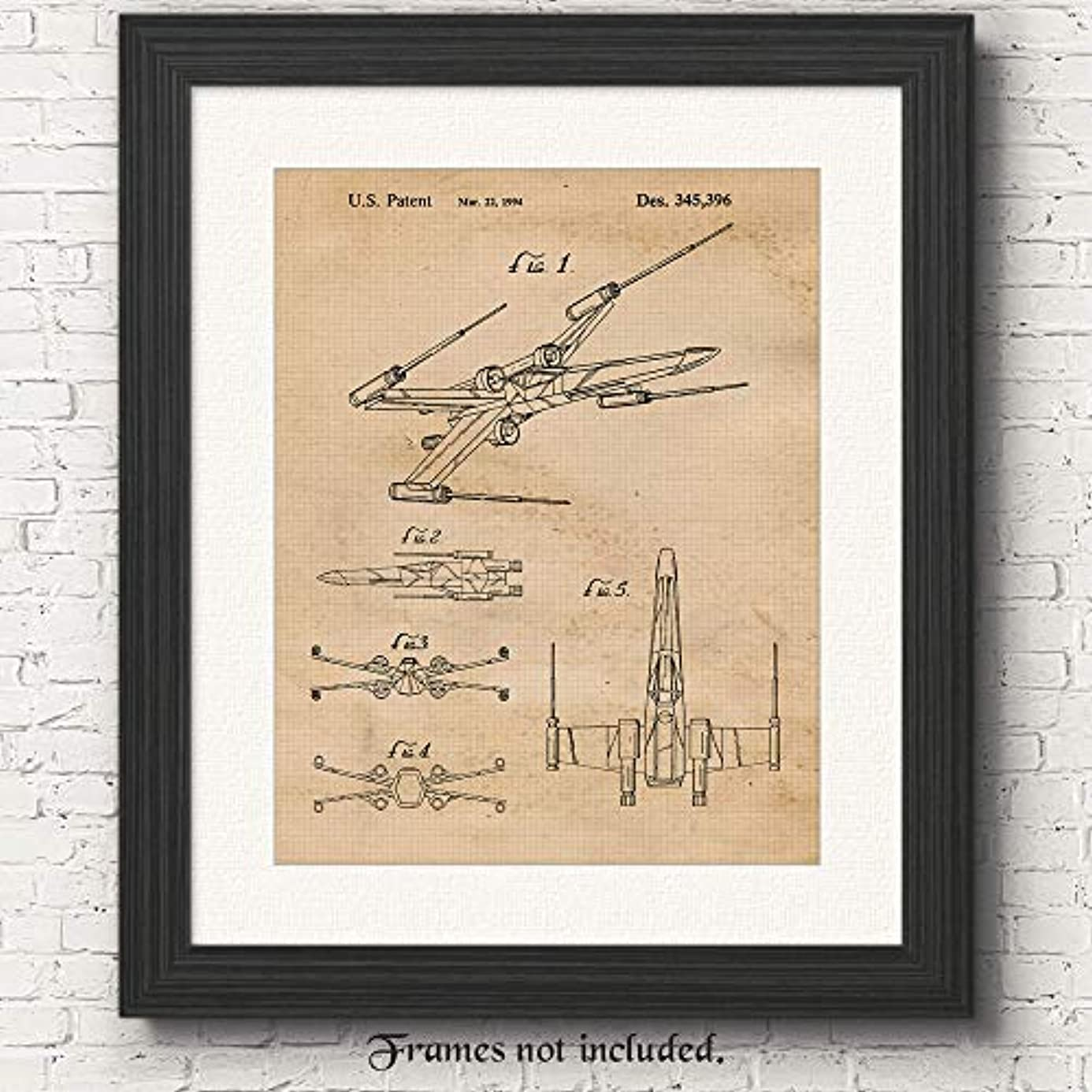 Original Star Wars X-Wing Starfighter Patent Art Poster Print - Set of 1 (One 11x14) Unframed - Great Wall Art Decor Gifts Under $15 for Home, Office, Garage, Man Cave, Student, Teacher, Movies Fan icz9582695