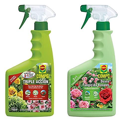 Compo Triple Acción Protección Contra Insectos, Hongos Y Ácaros, Para Plantas De Interior Y Exterior + Duaxo Fungicida Rosales, Spray 2 En 1 Preventivo Y Curativo